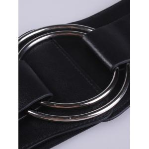 Faux Leather Stretch Belt with Metal Rings -