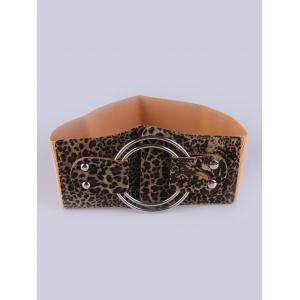 Faux Leather Stretch Belt with Metal Rings - Leopard - 2xl