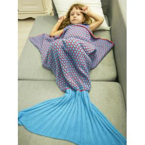 Thicken Knitted Sleeping Bag Kids Wrap Sofa Mermaid Blanket - Blue - M