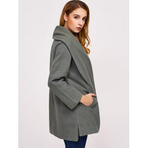 Single Button Drape Front Collar Coat - GREYISH GREEN L