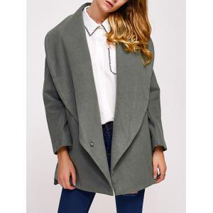Single Button Drape Front Collar Coat