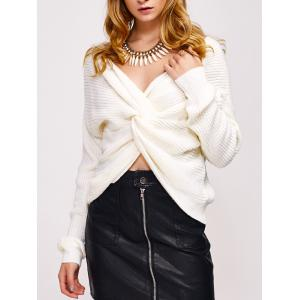 Twist Front Navel Baring V Neck Sweater