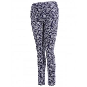 Skinny Flower Print Leggings - DEEP BLUE XL