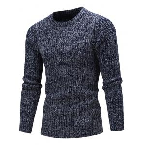 Slim Fit Crew Neck Ribbed Knitted Sweater - Cadetblue - M