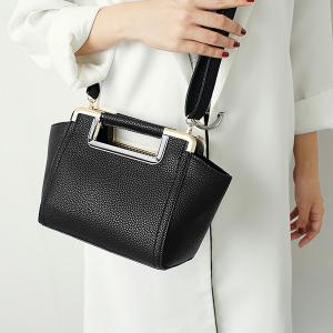 Textured PU Leather Metal Trimmed Handbag - BLACK