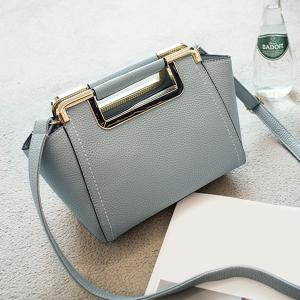 Textured PU Leather Metal Trimmed Handbag - Gray