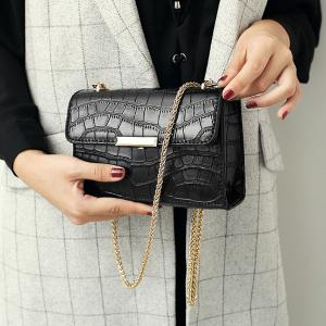 Chains Crocodile Embossing Crossbody Bag - BLACK