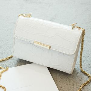 Chains Crocodile Embossing Crossbody Bag - White - L