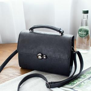 PU Leather Stitching Cross Body Bag - Black