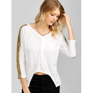 Sequined V Neck Asymmetric Blouse -