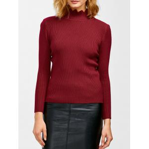 High Neck Ribbed Knit Sweater - Wine Red - One Size