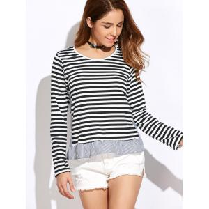 Slim Fit Stripe Peplum Tee - WHITE XL