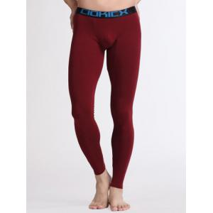 Breathable U Convex Pouch Warmth Long Pants - Wine Red - S