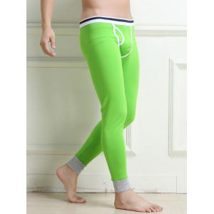 Breathable Edging Design U Convex Pouch Warmth Long Pants - Green - M