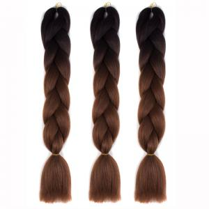 1 Pcs Multicolor Ombre High Temperature Fiber Braided Long Hair Extensions - Black And Brown - 24inch