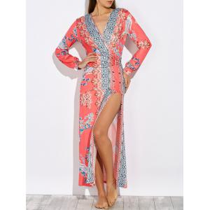 Long Sleeve Ornate Print Maxi High Slit Dress