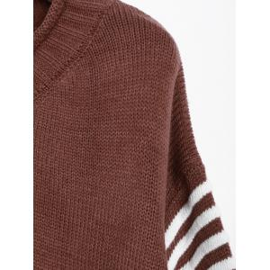 V Neck Pullover Sweater With Stripe Sleeve - DARK AUBURN ONE SIZE