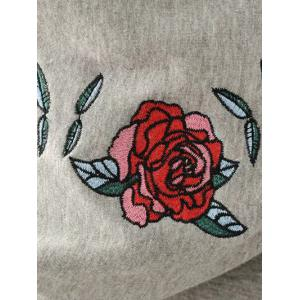 Floral Embroidered Letter Hoodie -