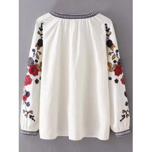 Round Neck Flower Embroidered Tunic Blouse - WHITE L