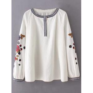 Round Neck Flower Embroidered Tunic Blouse