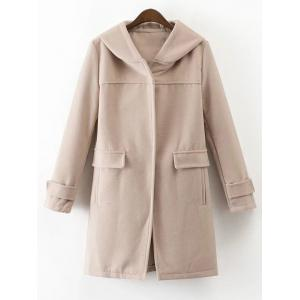 Hooded Woolen Blend Coat - Apricot - M