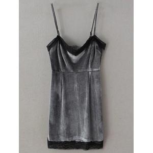 Velvet Short Lace Trim Slip Dress