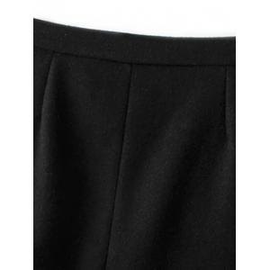 Wool Blend Single-Breasted A Line Skirt -