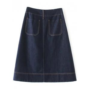 Zippered Denim A Line Skirt -