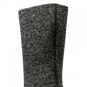 Ribbed Pointed Toe Glitter Short Boots -