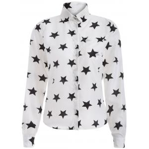 Star Print Chiffon Button Down Shirt - White - M