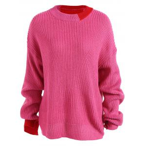 Loose Drop Shoulder Sweater - Rose Red - One Size