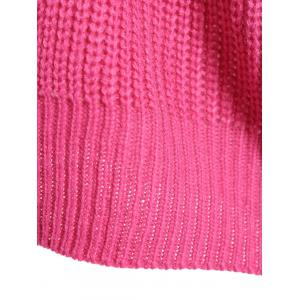 Loose Drop Shoulder Sweater - ROSE RED ONE SIZE