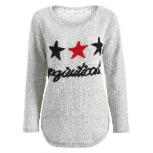 Star Letter Pattern Sweater - Gray - One Size