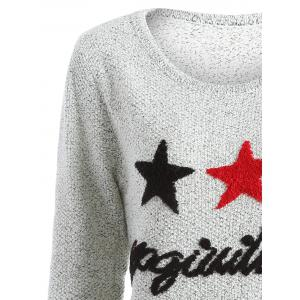 Star Letter Pattern Sweater - GRAY ONE SIZE