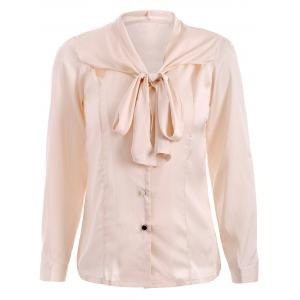 Bow Tie Neck Satin Shirt - Apricot - M