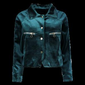 Zipper Pocket Velvet Graphic Embroidered Jacket - Blackish Green - M