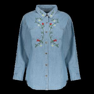 Long Sleeve Floral Embroidered Longline Denim Chambray Shirt - Light Blue - M