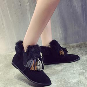 Point Toe Tassels Flat Suede Boots -