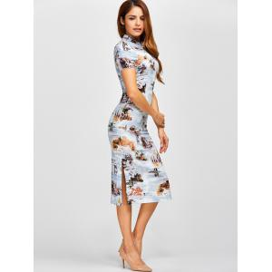 Retro Buildings Painting Side Slit Chinese Dress -