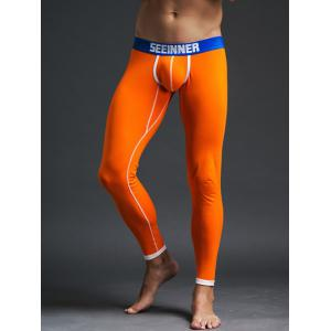 Skinny Contrast Trim Thermal Long Johns - Orange - M
