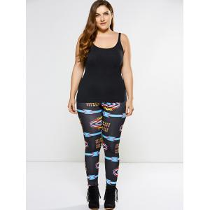 Plus Size Argyle Printed Leggings - BLACK 4XL