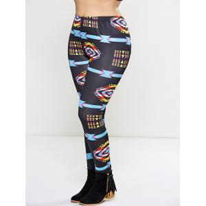Plus Size Argyle Printed Leggings -
