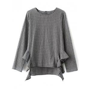 Checked Ruffled Hem Bouse - White And Black - S