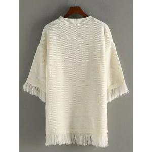 Crew Neck Fringed Pullover Sweater -