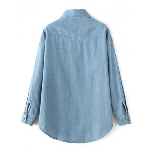 Floral Embroidered Chambray Shirt - LIGHT BLUE L