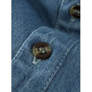Long Sleeve Floral Embroidered Longline Denim Chambray Shirt - LIGHT BLUE L