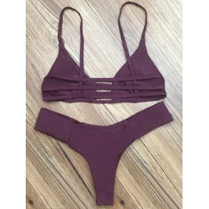 Spaghetti Strap Hollow Out Women's Bikini Set - DEEP PURPLE XL