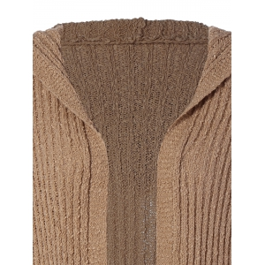 Hooded Ribbed Long Cardigan - BROWN 2XL
