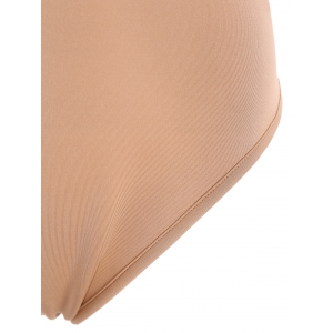 Sleeveless Tight Fit Plunge Low Cut Bodysuit - APRICOT 2XL