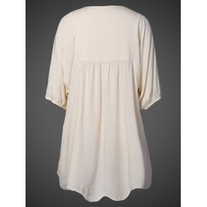 V Neck Embroidered Bib A Line Casual Dress Female - APRICOT ONE SIZE
